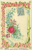Fantaisie. Carte Gaufrée. Fleurs. Roses. - Flowers
