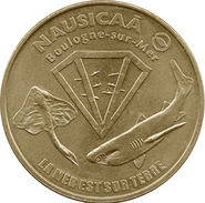 62 PAS DE CALAIS BOULOGNE NAUSICAÀ N°1 LA MER EST SUR TERRE REQUIN MÉDAILLE MONNAIE DE PARIS 1998 JETON TOKEN MEDAL COIN - Monnaie De Paris