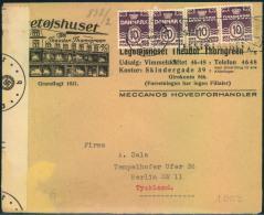 1942, Nice Advertising Envelope With Multiple Franking And German Censor From KOPENHAGEN To Germany. - Zonder Classificatie