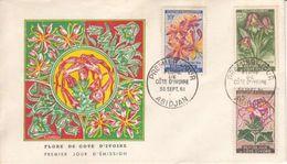 MICHEL 224-227-230 SUR FDC DU 30.09.1961 - FLEURES DE COTE D'IVOIRE - Côte D'Ivoire (1960-...)