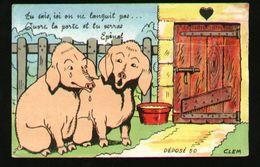 Carte à Système Multivues Epinal Cochons Porcherie - Cartoline Con Meccanismi