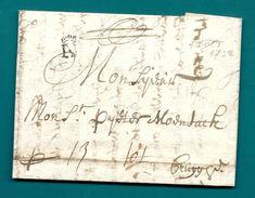 """-= Lettre De NANTES (Bretagne) Pour BRUGES (Pays-Bas Autrichiens) - 1722 =-  Marque """"N Courroné"""" - Marcophilie (Lettres)"""