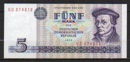 529-Allemagne De L'Est Billet De 5 Mark 1975 UD074 Neuf - [ 6] 1949-1990 : RDA - Rép. Dém. Allemande