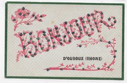 (RECTO / VERSO) OUROUX EN 1906 - UN BONJOUR D' OUROUX - CPA VOYAGEE - France