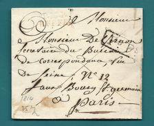 Charente - Ruffec Pour Paris. Port Payé P15P/RUFFEC En Rouge. LSC De 1814. Indice 20=420euros!! - Postmark Collection (Covers)