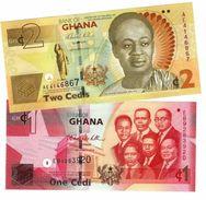 GHANA 1 & 2 CEDIS 2010 P-37A UNC SET [GH145c, GH1G50a] - Ghana