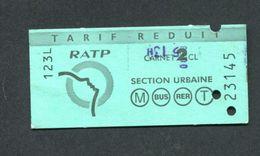 Ticket De Train / Métro / RER - Banlieue Parisienne - Tarif Réduit - Billet SNCF / RATP - Abonnements Hebdomadaires & Mensuels