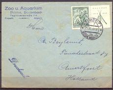 1938 , CHECOSLOVAQUIA , SOBRE CIRCULADO ENTRE BODENBACH Y HOLANDA , ZOO Y ACUARIO DE BODENBACH - Cecoslovacchia