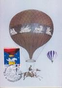 5° Biénnale Mondiale Aérostation, Chambley 29 Juillet 97, Cachet Du Bureau Temporaire Sur CP Ascension équestre Poitevin - France