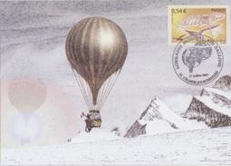 Aérostation, Mondial Air Ballon Chambley 27 Juillet 2007, Cachet Du Bureau Temporaire Sur CP La Gloire Des Aéronautes - Francia
