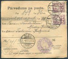 1927 Latvia Parvedums Pa Pastu Riga - Talsi - Latvia