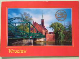 "Poland 1998 Postcard """"Wroclaw Ostrow Tumski Church River Bridge"""" To England - Country Estates Bronowicach - Pinecones - Pologne"