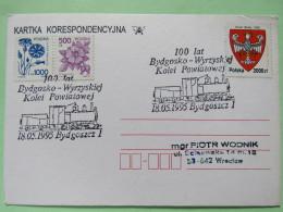 Poland 1995 Special Train Cancel On Postcard Bydgosko To Wroclaw - Arms Eagle - Flowers - 1944-.... Republic
