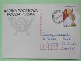 Poland 1997 Postcard Nowe Brzelkd To England - Pope John Paul II - 1944-.... Republic
