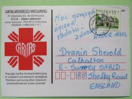 Poland 1998 Postcard Caritas Red Cross Wolcz To England - Country Estates Oblegorku - 1944-.... Republic