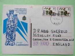 Poland 1998 Postcard John Paul II Virgin Statue Ludzmierz - Mecne To England - Pinecones Larix - 1944-.... Republic