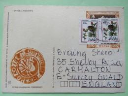 Poland 1998 Postcard Coin Bird Or Rooster - To England - Pinecones Larix - 1944-.... Republic