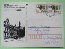 Poland 1998 Postcard Bydgoszcz Gazeta To England - Pinecones Larix - 1944-.... Republic