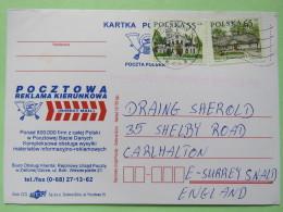 Poland 1998 Postcard Direct Mail Kozuchow To England - Country Estates Obergorku And Bronowicach - 1944-.... Republic