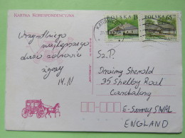Poland 1998 Postcard Horse Coach - Katowice To England - Country Estates Gluchach And Bronowicach - 1944-.... Republic