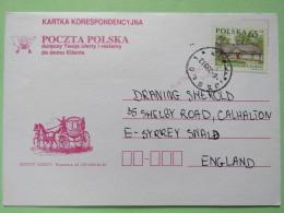 Poland 1999 Postcard Mail Coach - Jaslo To England - Country Estates Bronowicach - 1944-.... Republic
