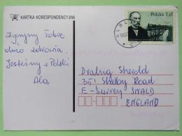 Poland 1999 Postcard Elblag To England - Malinowski Constructor Andean Train Peru - 1944-.... Republic
