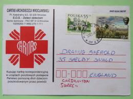 Poland 1999 Postcard Caritas Red Cross - Klobuck To England - Country Estates Oblegorku - Adam Mickiewicz Poet Writer - 1944-.... Republic