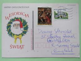 Poland 1999 Postcard Christmas Santa Claus - Kalisz To England - Country Estates Oblegorku - Easter Painting Adoration O - 1944-.... Republic