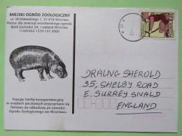 Poland 1999 Postcard Miejski Ogrod Zoo (hippopotamus) - To England - Zodiac Sagittarius With Bow And Motorcycle - 1944-.... Republic