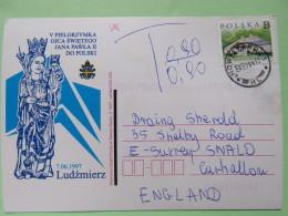 Poland 1999 Postcard Pope John Paul II - Virgin Statue - Ludzmierz - Nowy Targ To England - Country Estates Gluchach - T - 1944-.... Republic