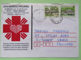 Poland 1999 Postcard Caritas Red Cross - Starogard Gdanski To England - Country Estates Gluchach And Bronowicach - 1944-.... Republic