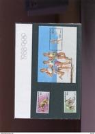 Belgie Thematische Map Nr 3 2285/87 BL64 Olympics Seoul South-Korea 1988 Rowing Athletics Cycling Uitgifteprijs 100fr !! - Cartes Souvenir