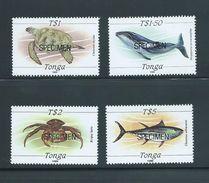Tonga 1989 Marine Life Definitives The 4 High Values $1 Turtle To $5 Fish MNH Specimen Overprint - Tonga (1970-...)