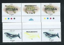 Tonga 1989 Marine Life Definitives $1 Turtle & $1.50 Whale Gutter Pairs MNH Specimen Overprint - Tonga (1970-...)