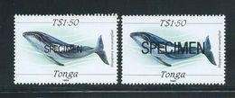 Tonga 1989 Marine Life Definitives $1.50 Whale X 2  MNH Specimen Overprint Of Differing Types - Gum Tone - Tonga (1970-...)