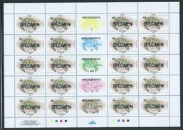 Tonga 1989 Marine Life Definitives $1 Turtle Full Sheet Of 20 With Labels And Imprint MNH Specimen O/P - Tonga (1970-...)