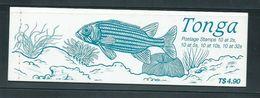 Tonga 1990 Marine Life Definitives Part Booklet With 2 Panes Remaining, Both ' WSP Specimen ' Handstamp - Tonga (1970-...)