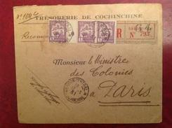 SAIGON Trésorerie De Cochinchine Pour Ministre Des Colonies Paris Millesime 0 Recommandé - Indochine (1889-1945)