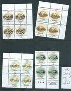 Tonga 1990 Marine Life Definitives Set Of 4 In MNH Blocks Of 4 Specimen Overprints - Tonga (1970-...)