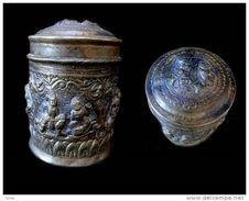 Belle Boîte Cylindrique à Bétel Shan /Vintage Shan Bronze Nat Betel Box - Art Asiatique