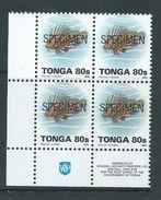 Tonga 1993 Marine Life Definitives 80s Fish MNH Imprint Block Of 4 Specimen O/P - Tonga (1970-...)