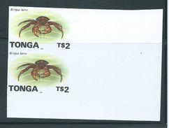 Tonga 1996 Marine Life Definitives $2 Lobster Imperforate Plate Proof Pair Jumbo Margins MNH - Tonga (1970-...)