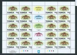 Tonga 1994 Marine Life Definitives $2 Coconut Crab Shell Full Sheet Of 20 MNH Specimen Overprint - Tonga (1970-...)