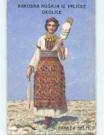 Pre-Linen Foreign EUROPEAN WOMAN HOLDING STICK FULL OF TWINE STRING HL7958 - Feiern & Feste