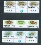 Tonga 1994 Marine Life Definitives $1 Turtle , $2 Crab , $3 Shell As Gutter Pairs MNH Specimen O/P - Tonga (1970-...)