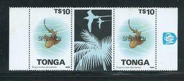 Tonga 1995 Marine Life Definitives $10 Shark Gutter Pair MNH Specimen O/P Gum Tone - Tonga (1970-...)
