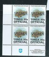 Tonga 1995 Marine Life Official Definitives 80s Fish  MNH Imprint Block Of 4 Specimen O/P - Tonga (1970-...)