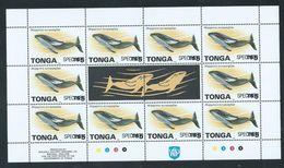 Tonga 1996 Marine Life Official Definitives $5 Whale Sheet Of 10 MNH Specimen Overprint - Tonga (1970-...)