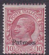Italy-Colonies And Territories-Aegean-Patmo S 3  1912  10c Claret MH - Aegean (Patmo)
