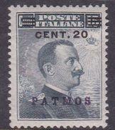 Italy-Colonies And Territories-Aegean-Patmo S 8  1916 20c On 15c Slate MH - Egée (Patmo)